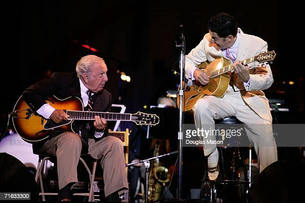 Singer and band leader John Pizzarelli performs with his father Bucky Pizzarelli in a tribute to Frank Sinatra during the first evening of the JVC...
