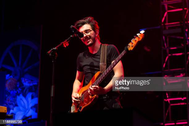 Singer and bass player Simon Vargas Morales of Colombian band Morat performs during a concert as part of his tour 'Balas Perdidas' at WiZink Center...