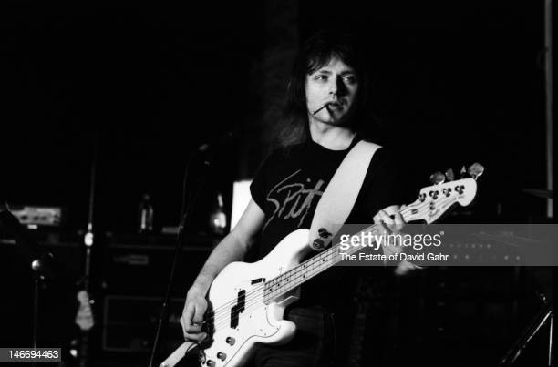 Singer and bassist Benjamin Orr of the rock group The Cars plays bass guitar in March 1980 during a recording session in Boston Massachusetts