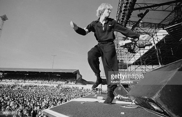 Singer and bassist Julian Cope of British band The Teardrop Explodes performs on stage Elland Road football stadium in Leeds England on May 29 1982