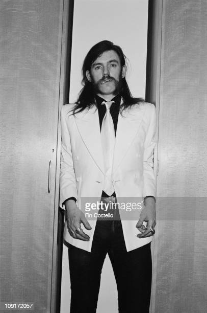 singer and bassist Lemmy Kilmister from Motorhead posed backstage at Top Of The Pops TV Studios in London in February 1981