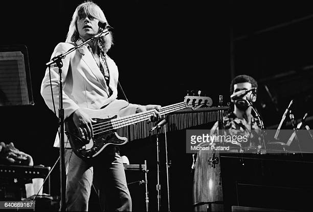 Singer and bassist Peter Cetera performing with American rock group Chicago USA September 1978 On the right is percussionist Laudir de Oliveira