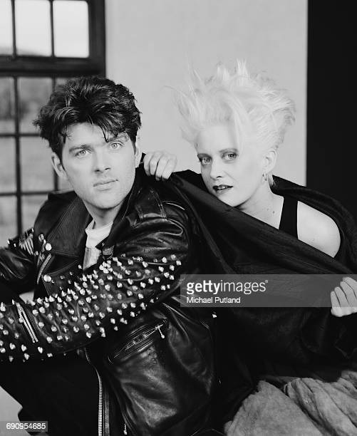 Singer and bassist Tom Bailey and drummer Alannah Currie of British pop group the Thompson Twins Paris October 1984