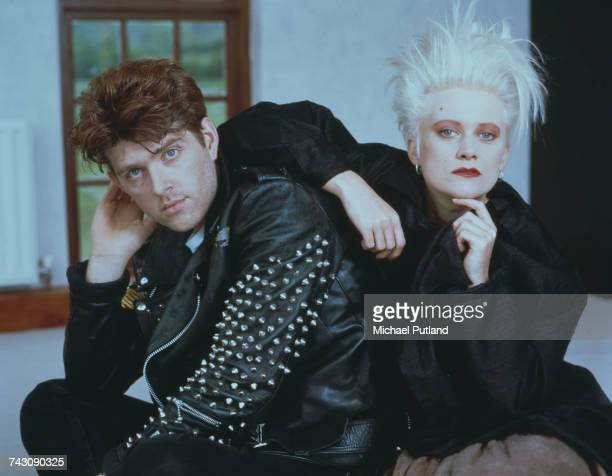 Singer and bassist Tom Bailey and drummer Alannah Currie of British pop group the Thompson Twins pictured together on 5th May 1987