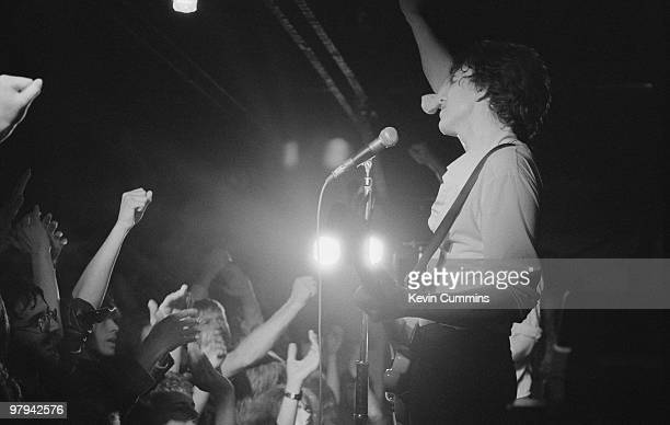 Singer and bassist Tom Robinson of the Tom Robinson Band performs on stage at Rafters in Manchester England circa 1978