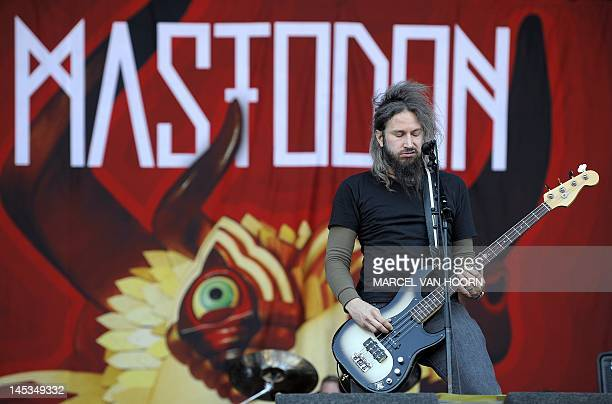 Singer and bassist Troy Sanders of US metal band Mastadon performs during the second day of the 43rd Pinkpop music festival at Landgraaf southern...
