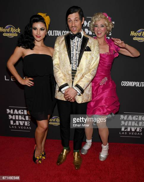 Singer and burlesque dancer Melody Sweets The Gazillionaire character and cast member Wanda Widdle from the show 'Absinthe' joke around on the red...