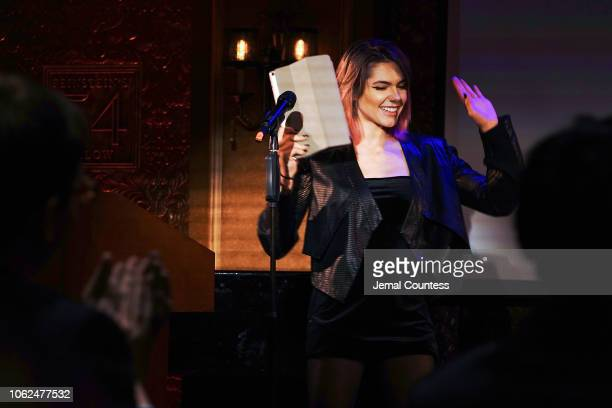 Singer and Cancer survivor Caly Bevier performs during the Gabrielle's Angel Foundation Medical Symposium at 54 Below on November 16 2018 in New York...