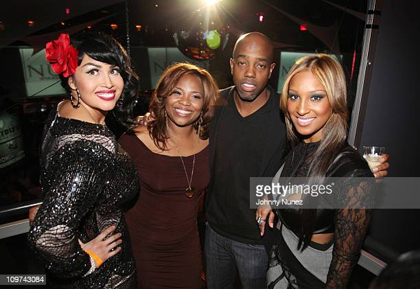 Singer and castmember Somaya Reece artist manager Mona Scott Michael Mills of Given Liqueur and singer and castmember Olivia Longott attend vh1's...