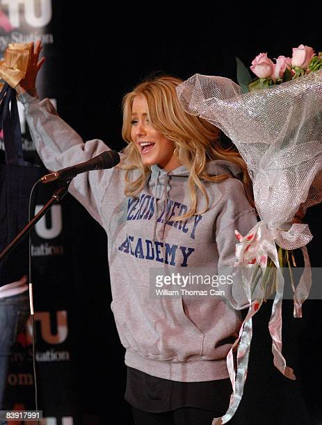 Singer and dancer Julianne Hough formerly of Dancing With The Stars thanks students at Merion Mercy Academy for giving her a school sweatshirt...