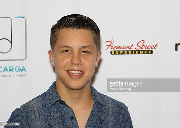 Singer and Descarga performer Jonatan Sanchez attends a press conference for Descarga 2014 at The Mirage Hotel Casino on July 26 2014 in Las Vegas...