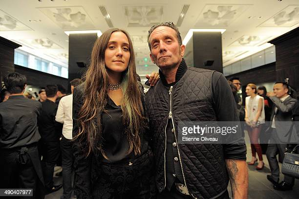 Singer and designer of Chrome Hearts Jesse Jo Stark and her father owner and designer of Chrome Hearts Richard Stark posing for a picture at the...