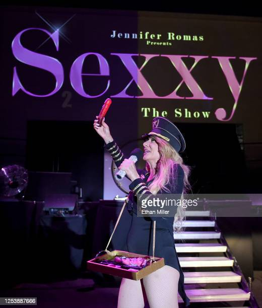 Singer and emcee Gabriella Versace speaks during a performance of SEXXY The Show at the Dreamland DriveIn Theater and Concert Venue at Fresh Wata...