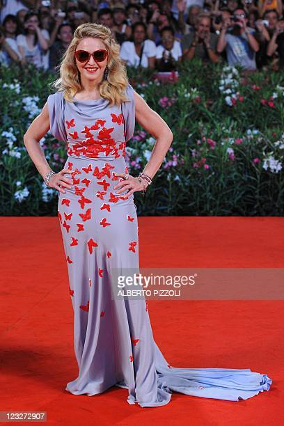 """Singer and film director Madonna arrives for the screening of """"W.E."""" at the 68th Venice Film Festival on September 1, 2011 at Venice Lido. """"W.E."""" by..."""