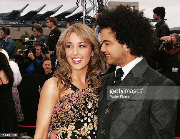 Singer and first Australian Idol Guy Sebastian and girlfriend Julie Egan arrive for the 2004 ARIA Awards at the Superdome October 17 2004 in Sydney...