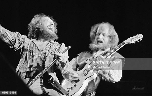 Singer and flautist Ian Anderson and guitarist Martin Barre performing with British rock group Jethro Tull at Wembley Arena London 13th May 1982