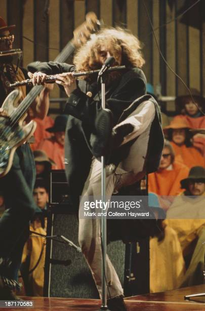 Singer and flautist Ian Anderson from Jethro Tull performs live on stage on the set of the Rolling Stones Rock and Roll Circus at Intertel TV Studio...