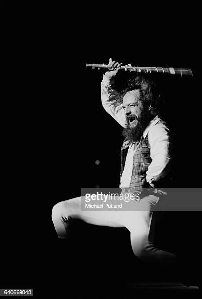 Singer and flautist Ian Anderson performing with British rock group Jethro Tull at Madison Square Garden New York City October 1978 The band played...