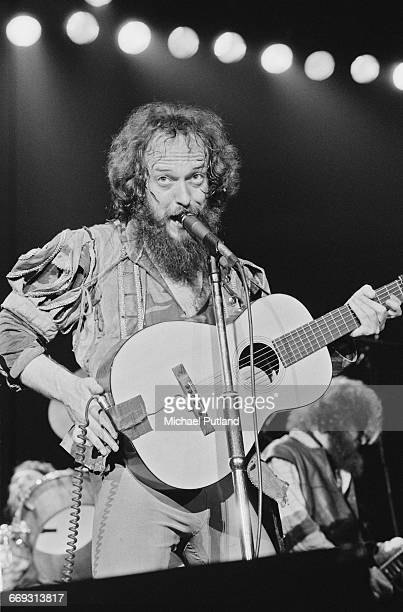 Singer and flautist Ian Anderson performing with British rock group Jethro Tull at Wembley Arena London 13th May 1982