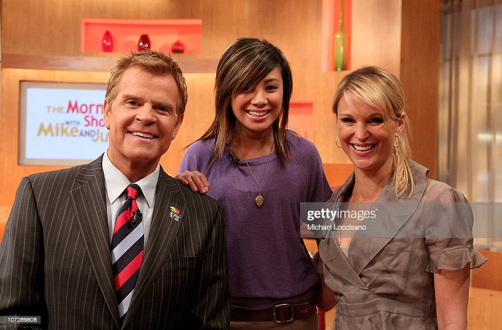 "Ramiele Malubay and Brittany Snow Visit ""The Morning Show with Mike and Juliet"" - April 8, 2008 : News Photo"