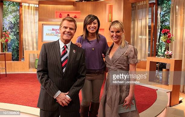 Singer and former American Idol contestant Ramiele Malubay poses with hosts Mike Jerrick and Juliet Huddy on the set of The Morning Show with Mike...
