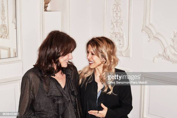 Singer and former model Carla BruniSarkozy is photographed with her friend Tristane Banon for Paris Match on December 19 2017 in Paris France