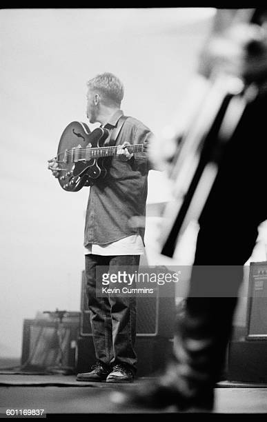Singer and guitarist Bernard Sumner of English rock group New Order on a stage during the band's North American tour JulyAugust 1993 In the...