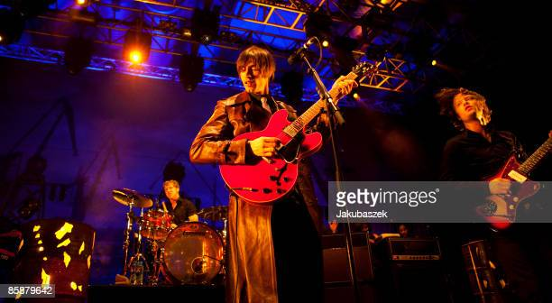 Singer and guitarist Bjoern Dixgard and Gustaf Erik Noren of the Swedish Rock band Mando Diao perform live during a concert at the Columbiahalle on...