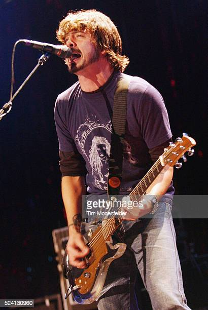 Singer and guitarist Dave Grohl of the Foo Fighters performing on stage at Live 1053 BFD at the Shoreline Amphitheater Before forming the Foo...