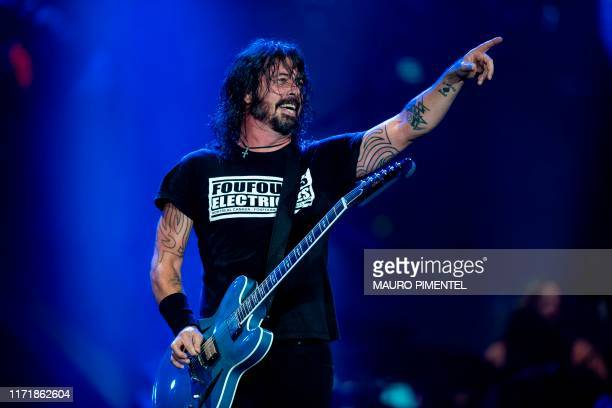 US singer and guitarist Dave Grohl of US rock band Foo Fighters performs onstage during the Rock in Rio festival at the Olympic Park Rio de Janeiro...