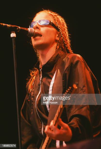 Singer and guitarist Dexter Holland performing with American punk group The Offspring London 1997