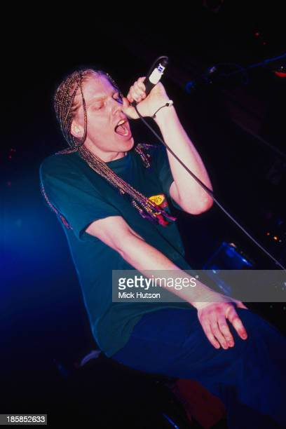 Singer and guitarist Dexter Holland performing with American punk group The Offspring London 1995