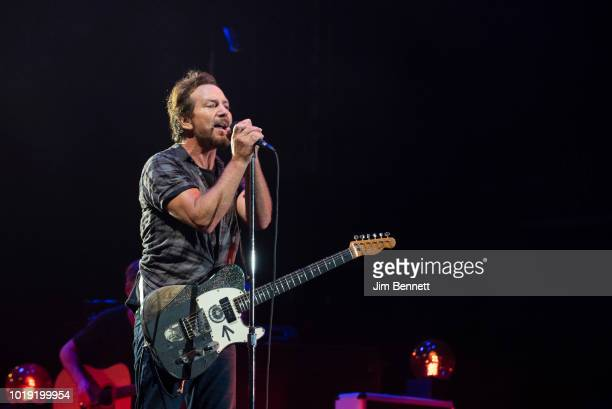 Singer and guitarist Eddie Vedder of Pearl Jam performs live on stage at Safeco Field on August 10 2018 in Seattle Washington
