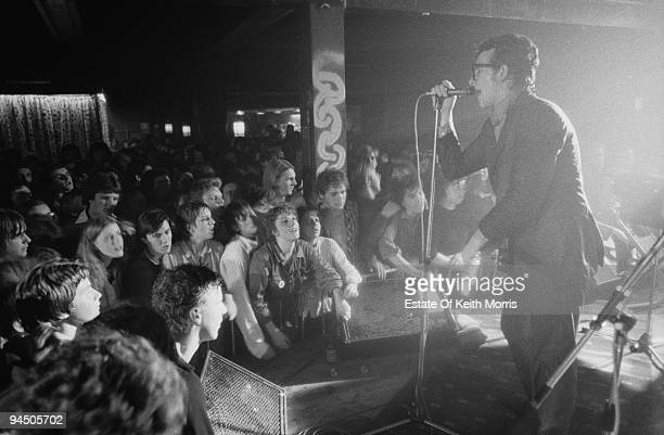 Singer and guitarist Elvis Costello performing with English pop group Elvis Costello And The Attractions Liverpool 1979
