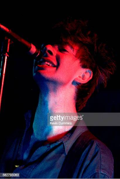 Singer and guitarist Ian McCulloch performing with British band Echo and the Bunnymen circa 1981
