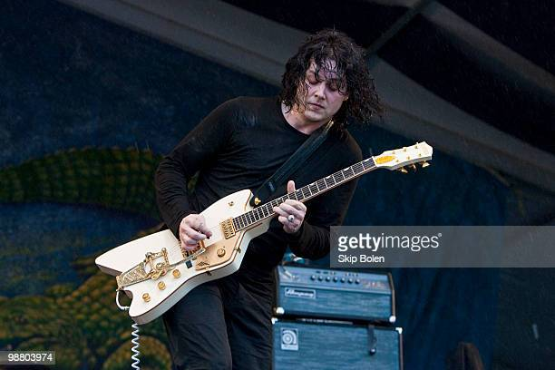 Singer and guitarist Jack White of The Dead Weather performs during day 7 of the 41st annual New Orleans Jazz Heritage Festival at the Fair Grounds...