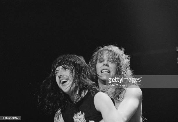 Singer and guitarist James Hetfield and drummer Lars Ulrich of American heavy metal band Metallica at the Aardshock Festival in the Netherlands...