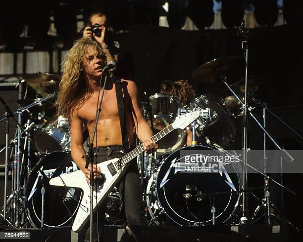 Singer and guitarist James Hetfield of the heavy metal quartet Metallica performs onstage in circa 1985