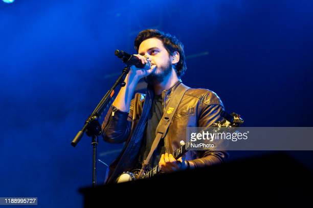 Singer and guitarist Juan Pablo Villamil of Colombian band Morat performs during a concert as part of his tour 'Balas Perdidas' at WiZink Center in...
