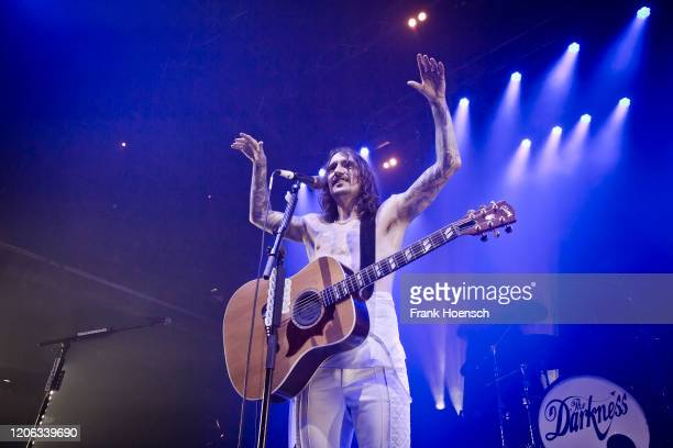 Singer and guitarist Justin Hawkins of the British band The Darkness performs live on stage during a concert at the Kesselhaus on February 12 2020 in...