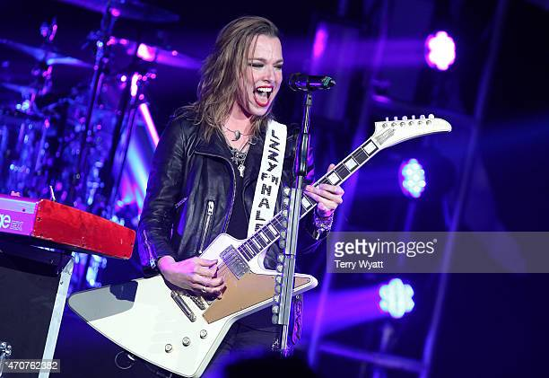 Singer and guitarist Lzzy Hale of Halestorm performs at the Ryman Auditorium on April 22 2015 in Nashville Tennessee