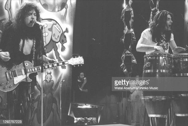 Singer and guitarist Marc Bolan and percussionist Mickey Finn of English glam rock group T Rex perform the group's single '20th Century Boy' on the...