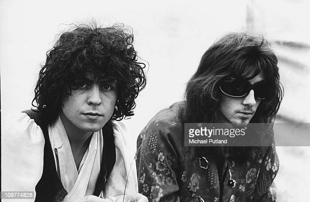 Singer and guitarist Marc Bolan and Steve Peregrin Took of Tyrannosaurus Rex backstage at the Woburn Music Festival held at Woburn Abbey in...