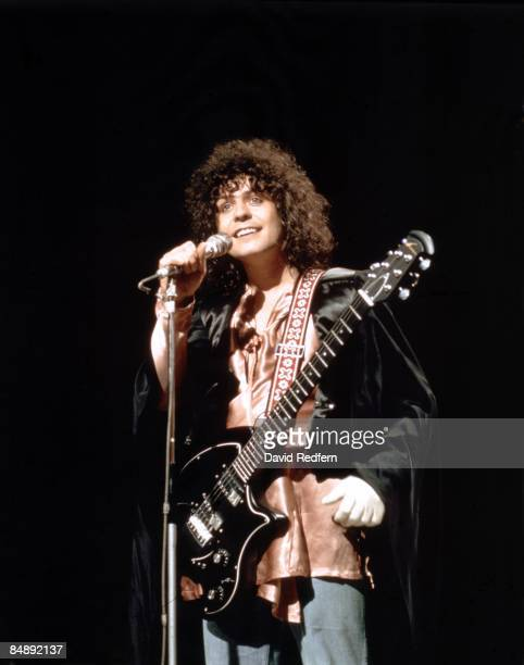 Singer and guitarist Marc Bolan of English glam rock group T Rex performs the band's new single 'The Groover' on the BBC music television show 'Top...