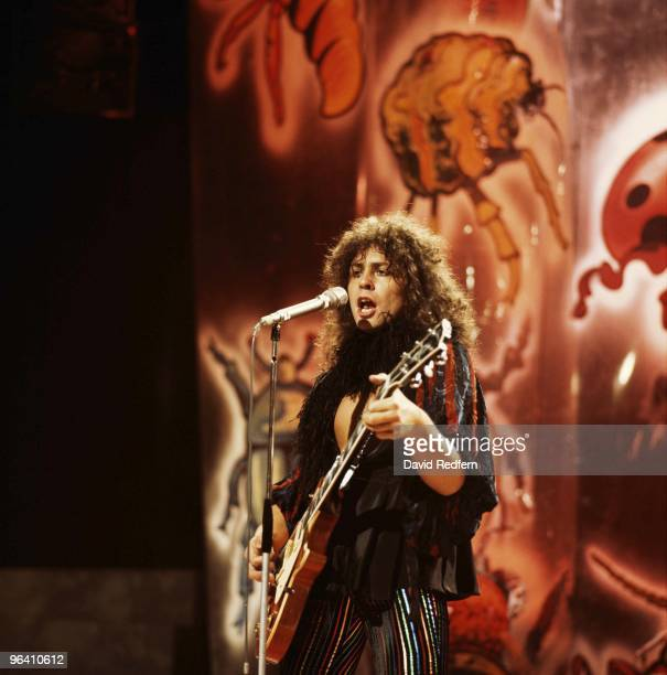Singer and guitarist Marc Bolan of English glam rock group T. Rex performs the group's new single '20th Century Boy' on the BBC music television show...