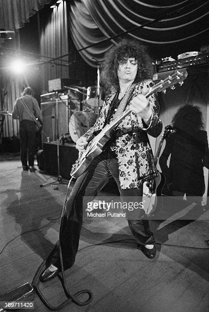 Singer and guitarist Marc Bolan of English glam rock group TRex on stage during a soundcheck on the group's fourdate British tour June 1972 In the...