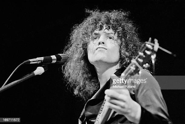 Singer and guitarist Marc Bolan of English glam rock group TRex performing on stage during a concert on the group's fourdate British tour June 1972