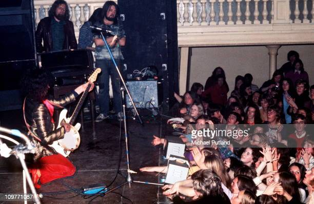 Singer and guitarist Marc Bolan of T-Rex performing on stage circa 1972.