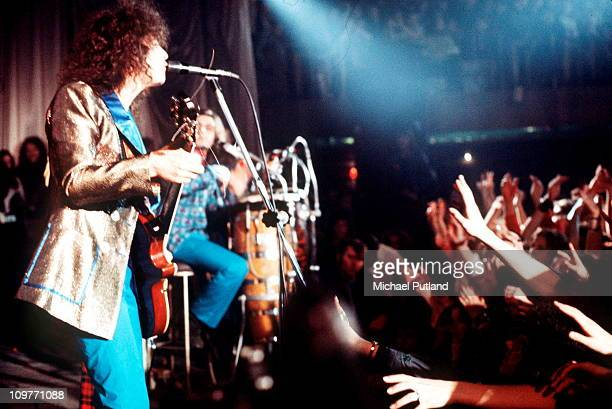Singer and guitarist Marc Bolan of T-Rex performing on stage in 1971.