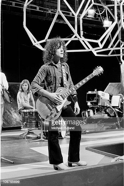 Singer and guitarist Marc Bolan of T-Rex performing on the BBC television show Top of the Pops on August 04, 1971.
